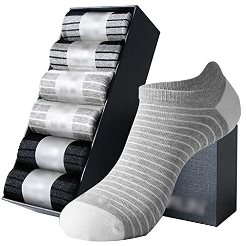 LJMG Calcetines de Deporte 6 Pares De Calcetines Ligeros Y Transpirables De Hombre A Rayas, Calcetines De Algodón Que Absorben La Humedad, Calcetines Boca Baja Desodorante Iones De Plata