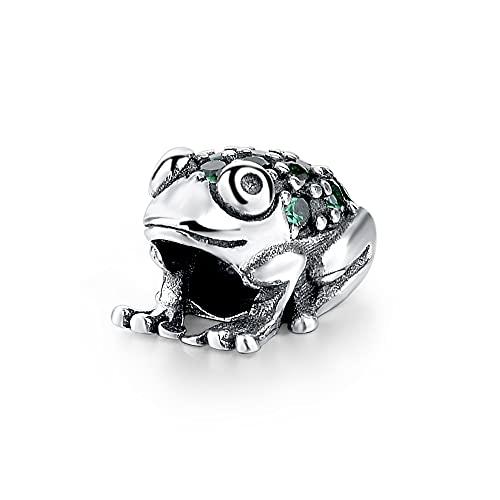 WUXEGHK Plata De Ley 925 DIY Craft Frog Charms Animal Green Zircon Beads Fit Pandora Pulseras Joyería Fina para Mujeres Regalos