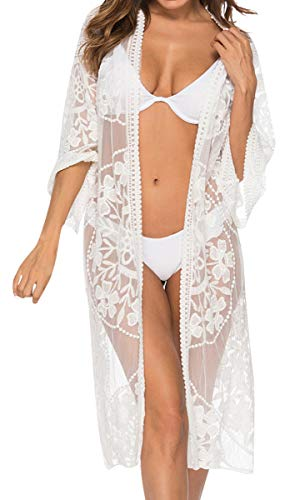 UMIPUBO Mujer Trajes de Baño Cubrir Encajes Bikini Camisola y Pareos Cárdigan de Playa Blusa Larga de Verano Vestido de la Playa 3/4 Tops de Manga