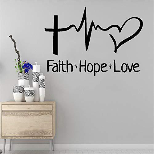 Adhesivos de pared con texto en inglés 'Faith Hope Love', religiosos, inspiradores de oficina, vinilo, reglas familias, citas de la familia, decoración del hogar, pegatinas de pared, 42 x 42 cm