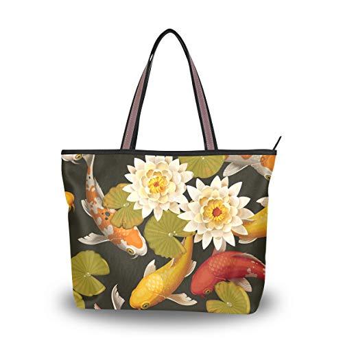 Carps Lotus - Bolso de viaje para mujer con cremallera de tela de alta calidad para ir de compras, color, talla Medium