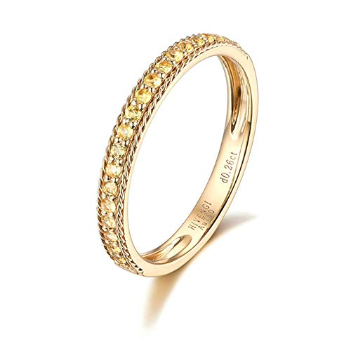 AmDxD Wedding Rings Yellow Gold 18K, Thin Round Yellow Sapphire 0.21CT Anniversary Band for Women Size K 1/2, Birthday Gifts for Girlfriend Wife Mom with Gift Box
