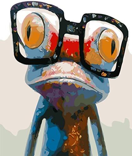 Neue Farbe nach Zahlen für Erwachsene Kinder - Frosch trägt eine Brille 16x20 Zoll Leinen Leinwand - DIY digitale Malerei nach Zahlen Kits auf Leinwand-Ohne Rahmen