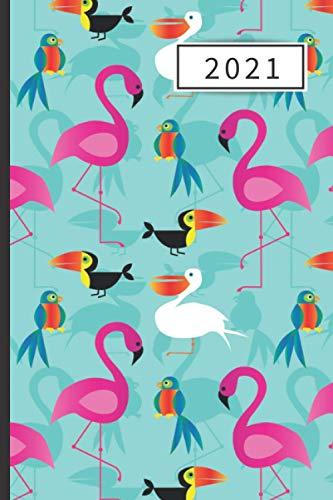 AGENDA 2021: Agenda semana vista (Enero 2021 / Enero 2022) | Anual | Tamaño de bolsillo | Planificador semanal (Español) | 1 semana en 2 páginas | ... o Estudiantes | Tapa flamencos rosas