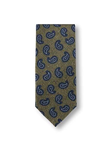 Walbusch Herren Paisley Wollkrawatte gemustert Oliv/Blau