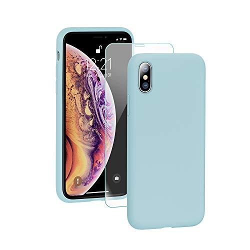 SmartDevil Funda para iPhone X/XS+Protector de Pantalla, [Totalmente Protectora] Funda de Goma de Gel de Silicona Líquida a Prueba de Golpes Suave.ELA Microfibra Funda para iPhone X/XS-Azul