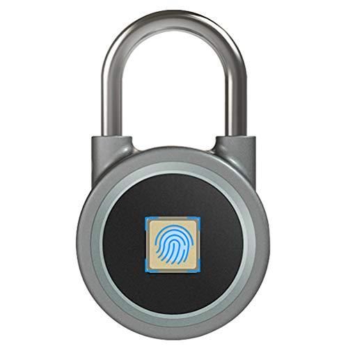 ZHHAOXINPA Tragbar Fingerdruck Vorhängeschloss Wasserdicht USB Vorhängeschloss für Android iOS Form für Ihre Tür, Rucksackkoffer, Radfahren, Fitnessstudio, Büro Smart