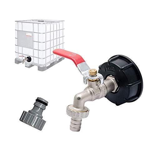 S60X6 Adaptateur de réservoir de vidange IBC pour robinet de jardin en laiton avec raccord de tuyau 12,7 mm