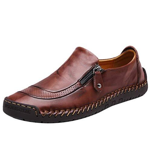 COSIDRAM zapatos casuales para hombre deslizarse en zapatos de caminar transpirables confort moda mocasines de cuero zapatillas de deporte de conducción zapatos para hombres negocios trabajo oficina vestido al aire libre, marrón, 8