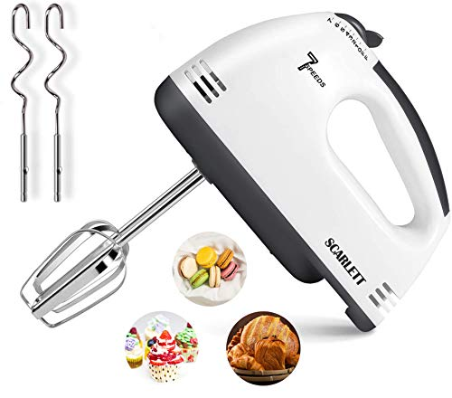 Hand Mixer Electric, Kuopry 7 Speed Hand Mixer Electric Hand Mixer,Portable Kitchen Hand Held Mixer,Immersion Blender Whisk for Food Whipping,Egg Whisk,Cake Mixer,Milk Frother,Bread Maker,Beater