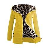 Abrigos de otoño Invierno, Dragon868 Mujeres más Terciopelo Grueso Encapuchado Chaqueta de Leopardo con Cremallera Abrigos Amarillo XL