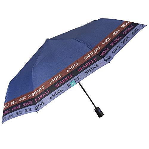 Paraguas Plegable Automático Colorado Mujer - Paraguas Portátil Colores en Microfibra - Paraguas Tamaño Pequeño de Viaje Cortaviento Resistente - Diámetro 96 cm - Perletti (Morado Smile Sparkle Shine)