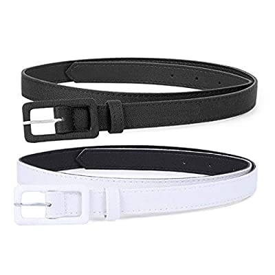 Casual Basic Cloth Wrap Leather Belt for Costume, Comfortable Thin Belt for Business Suit, Dress, Short, Black&White