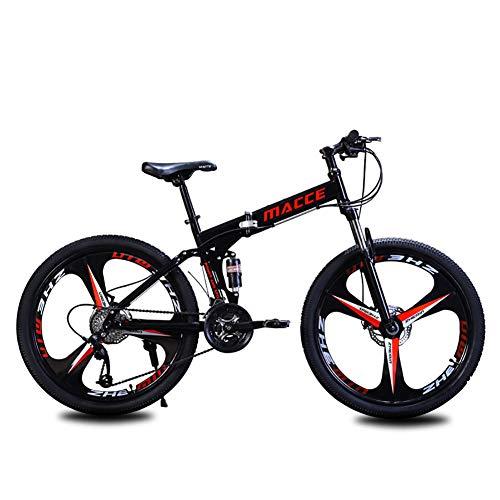 Unisex Mountain Bike 21/24/27 velocità Telaio in Acciaio ad Alto tenore di Carbonio 26 Pollici Freno a Doppio Disco Ruote a 3 Razze Bicicletta Pieghevole a Doppia Sospensione,Black,27Speed