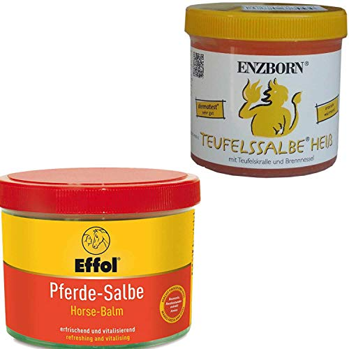 Effol Pferdesalbe 500 ml + Teufelssalbe HEISS 200 ml Massage Set