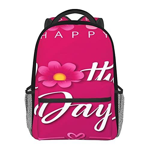 Schulrucksäcke Zelt Ballon Casual Schultertasche Mehrzweck-Tragetasche Leichter Tagesrucksack für Mädchen/Jungen, Rosa Blume, quadratisch, One size
