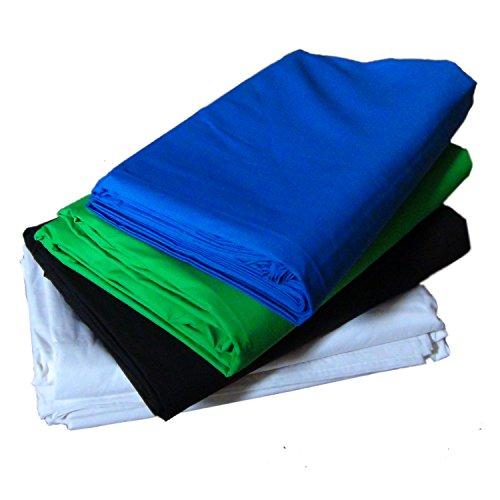 DynaSun Kit Fondo Profesional W00x Blanco Negro Azul Verde 280x400cm Algodón 140g/sqm para Estudio