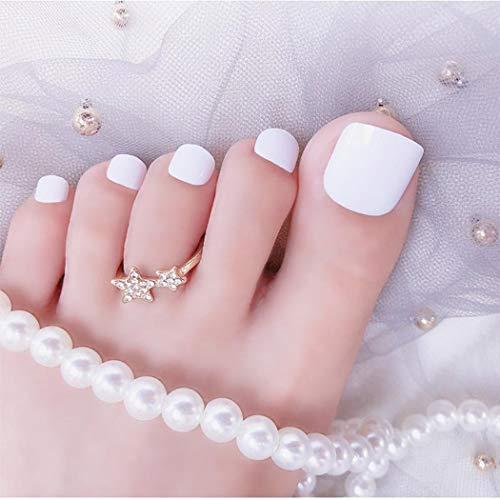 Sethexy Pure Farbe Glänzend Falsche Zehennägel Hell Mode Quadrat Kurz Vollständige Abdeckung 24 STÜCKE Gefälschte Zehennägel für Frauen und Mädchen (Weiß)