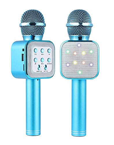 Micrófono Bluetooth Karaoke, micrófono inalámbrico portátil Karaoke con luces LED y altavoz para niños Sing Music Match, compatible con PC Android/iOS, AUX o teléfono inteligente (Blue)