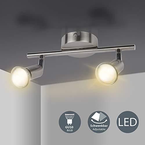 LED Deckenleuchte drehbar, LED Strahler mit 2 drehbaren & schwenkbaren Deckenspots 400LM 4W LED GU10 Birnen Deckenstrahler für Küche, Wohnzimmer, Schlafzimmer Comzler