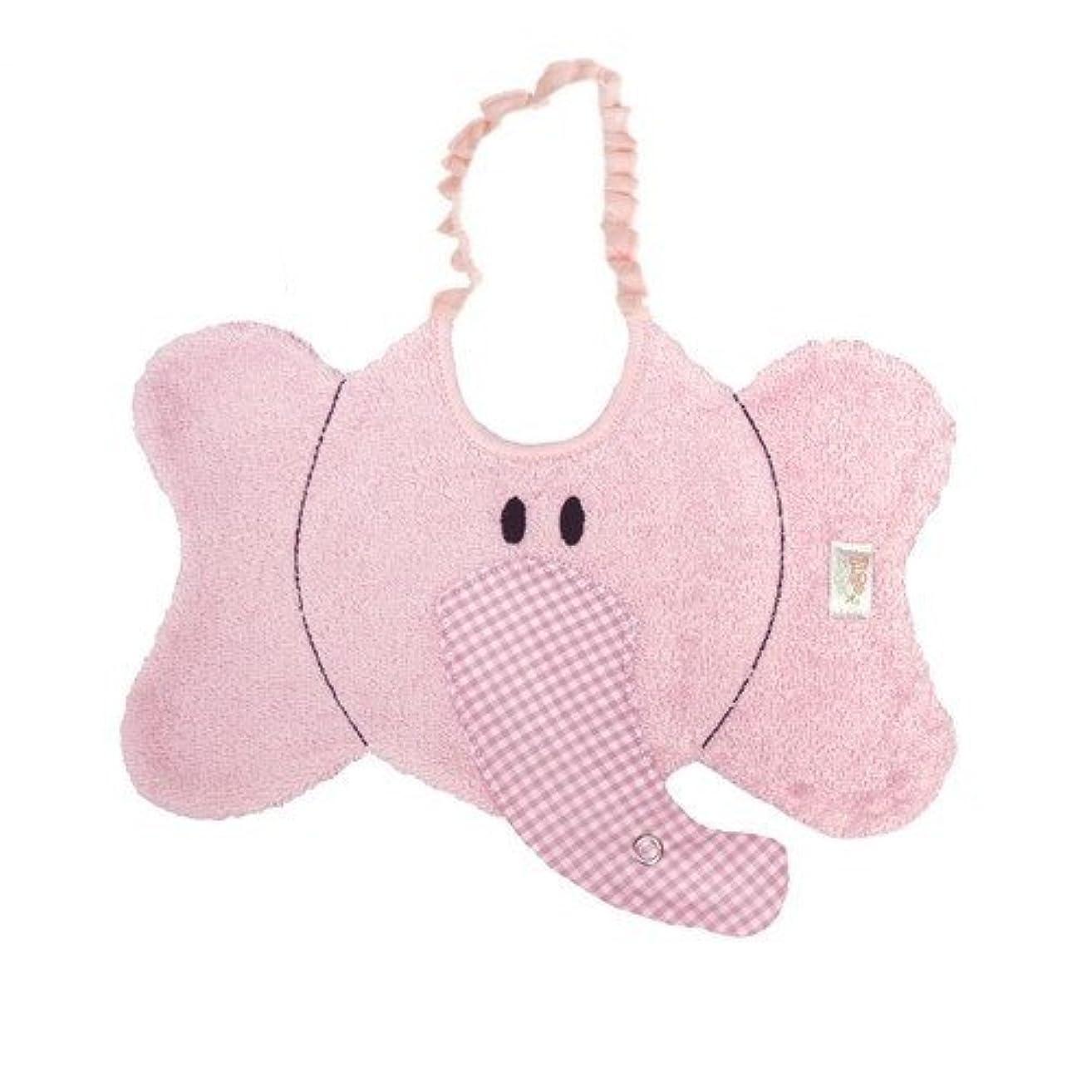 Zigozago - Baby Bib ELEPHANT with dummy pacifier chain - Tie: Elastic - One Size - Color: Pink