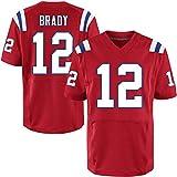 OUOT Patriots Brady 12# Maillot de Rugby pour Homme Sweatshirt T-Shirts, Fibre de Polyester à séchage Rapide Occasions applicables: Entraînement de compétition pour Hommes-athlètes en Plein air Tous