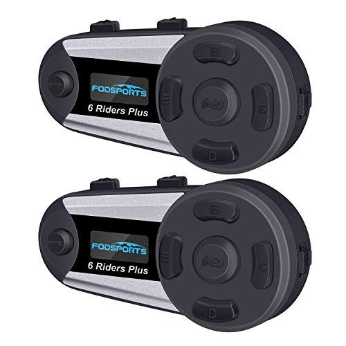 FODSPORTS Motorrad Gegensprechanlage Headset für bis zu 6 Reiters, 1200M mit OLED Bildschirm Bluetooth Kommunikationssystem Intercom Wasserdicht umfassen Festes Kabel und Weiches Kabel(2 Stücke)
