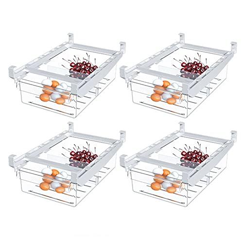 Paquete de 4 contenedores organizadores de refrigerador con asa, caja de almacenamiento de refrigerador de extracción libre con diseño antideslizante de sección dividida para gabinetes de refrigerador
