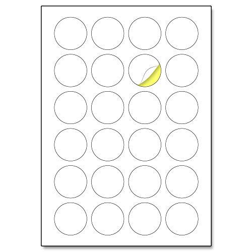 40mm, 25 Blatt, A4 Runde Aufkleber Etiketten Selbstklebend Bedruckbar - 24 Stück pro Blatt