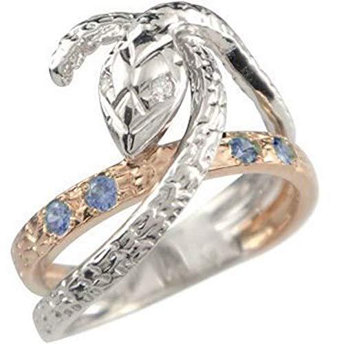 [アトラス]Atrus リング レディース pt900 18金 プラチナ ピンクゴールドk18 タンザナイト 12月誕生石 ダイヤモンド ヘビ 指輪 8号