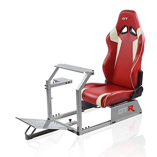 GTR Simulator GTA-S-S105LRDWHT GTA Model Silver Frame with Red/White Real Racing Seat, Driving Simulator Cockpit Gaming Chair with Gear Shifter Mount
