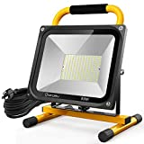Onforu 80W LED Work Light, 7600LM Worklight with 2 Brightness Levels, 800W Equivalent Construction Stand Lights, Waterproof Flood Light with 16.4ft Cord Plug for Workshop, Garage, 5000K Daylight White
