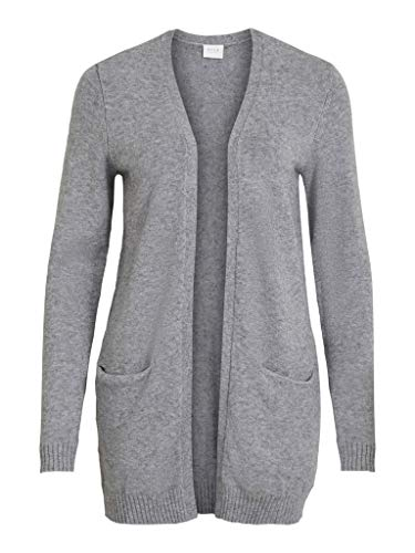 Vila Damen VIRIL Open L/S Knit Cardigan-NOOS Strickjacke, Medium Grey Melange, L