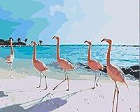 DMFNGJSD 数字油絵 フレーム付き、数字キット塗り絵 手塗り DIY絵-赤い鳥 40X50cm