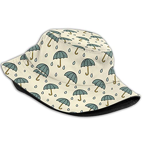 Watercolor Green Umbrellas Raindrops Womens Men Fisherman Hat,Breathable Packable Foldable Bucket Hats,Portable Outdoor Reversible Sun Caps for Fishing Hunting Hiking Camping Beach Golf