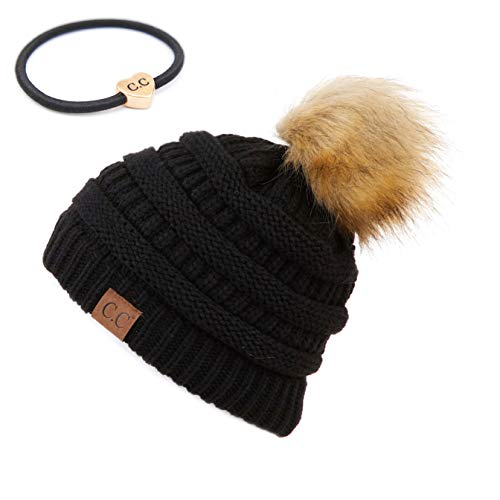 Hatsandscarf C.C Exclusives Unisex Solid Ribbed Pom Beanie Bundle with Hair Tie (HAT-43) (Black) (with Ponytail Holder)