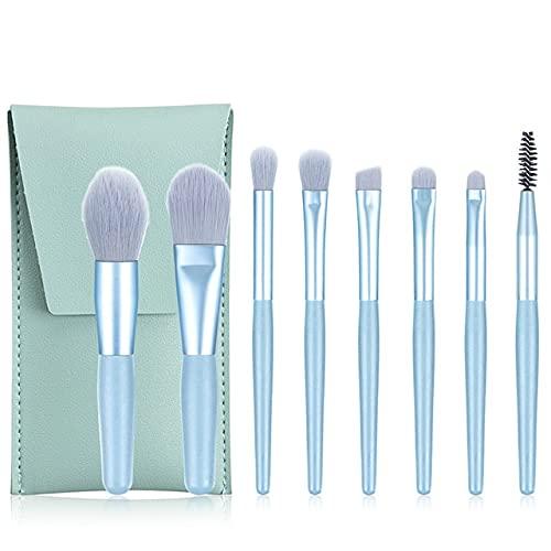 8-piece makeup brush set, eye shadow, eyeliner, eyelashes and eyebrow brush, beauty makeup mixing tool - 8pc Blue with bag