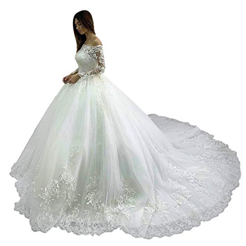 MAXINDA Gorgeous Ball Gown Off Shoulder Wedding Dress Long Sleeve Lace Applique Beaded Bridal Gown White