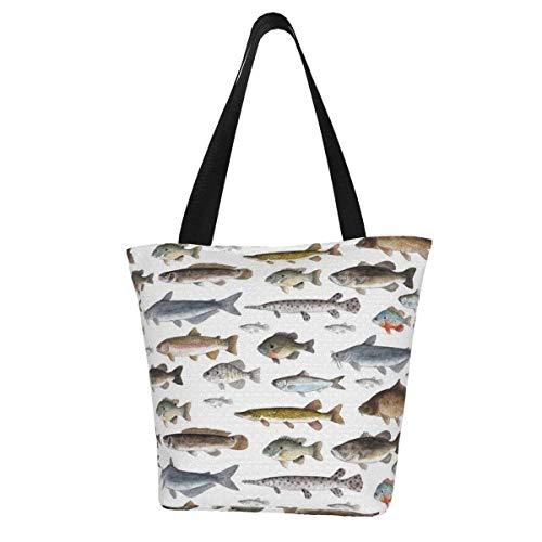 Bolsa de lona personalizable, para mujer, con diseño de peces de agua dulce, lavable, para llevar al hombro