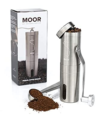MOOR Manual Coffee Grinder with Adjustable Setting, Conical Burr Mill & Brushed Stainless steel Whole Bean Burr Coffee Grinder for Aeropress, Drip Coffee, Espresso, French Press, Turkish Brew, Classic Impressive & Functional Design for your Fresh Morning