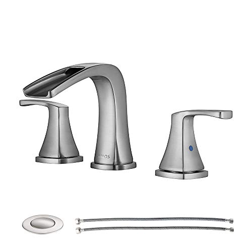 PARLOS Waterfall Widespread Bathroom Faucet Double Handles with Pop Up Drain & cUPC Faucet...