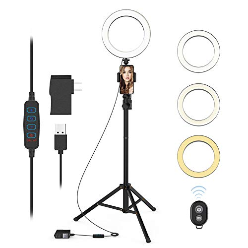 Selfie Ring Light with Tripod Stand and Phone Holder LED Circle Lights Halo Lighting for Make Up...