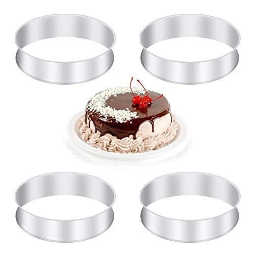 RosewineC Edelstahl-Kuchenring-Backringe Crumpets-Ringe Edelstahl-Muffinringe Metall-Rundringform für Haushaltszubereitungswerkzeug , 3,15 Zoll(4 Stück / 8 cm)