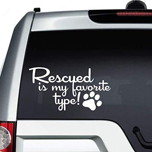 Adhesivo de vinilo con estampado de huellas de Rescued is My Favorite para adoptar perros y gatos, pegatinas personalizadas para parachoques de coche, ordenador portátil, camiones y más, color blanco