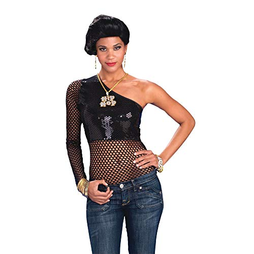 Bristol Novelty - Top de Rejilla para Disfraz de rapera trapera para Chica Mujer (38-42 EU) (Negro)