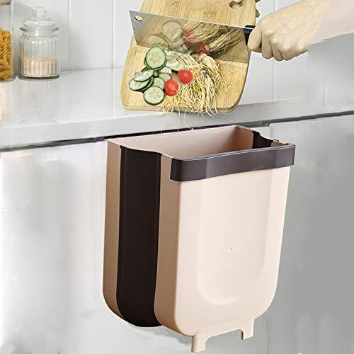 Cubos de Basura Plegable Colgando,Bote de Basura Colgante Basurero Extraible para la Cocina, Dormitorio y Coche 9L