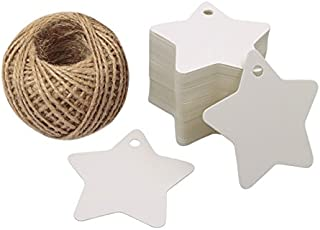 Christmas Star Gift Tags 100PCS Paper Gift Tags with String White Kraft Gift Tag with 100 Feet Natural Jute Twine (White)