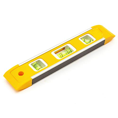 Harlington Group Magnetic Spirit Levels Level Yellow 22.5cm   9  Inch Torpedo Lightweight Small Brick Line Home DIY Work Hanging Tool 3 Vials 45 Degree Horizontal and Vertical