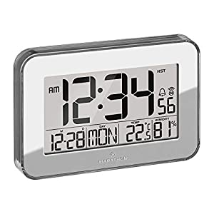 Marathon Designer Atomic Wall Clock with Polished Acrylic Bezel. Displays Calendar, Indoor Temperature and Humidity - Batteries Included - CL030060SV (Mirrored Finish)