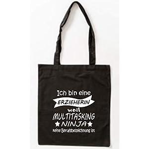 Baumwollbeutel Ich bin eine Erzieherin weil Multitasking Ninja keine Berufsbezeichnung ist